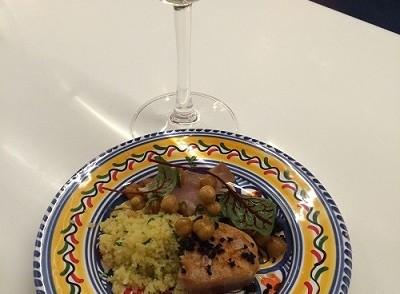 White wine and tapas at Barsa Taberna restaurant in Toronto.