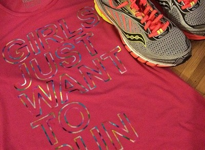 Girls Just Want to Run t-shirt and running shoes