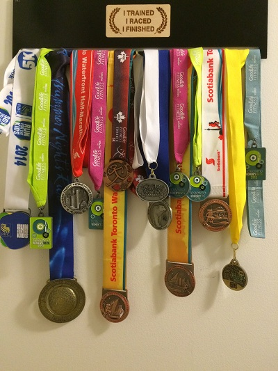 Running medals on display