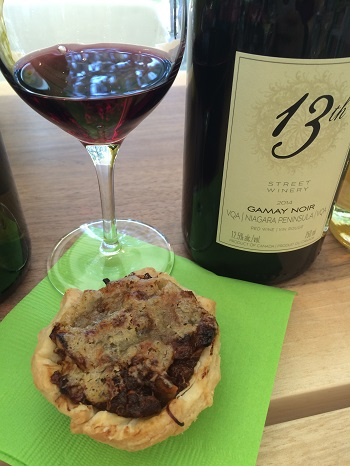 13th Street Winery 2014 Gamay Noir paired with an apricot and blue cheese tart.