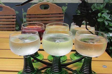 A wine tasting flight at Weingut Karl Heidrich in Bacharach, Germany.