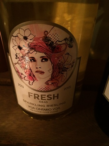 Fresh wines sparkling Riesling has a beautiful label.