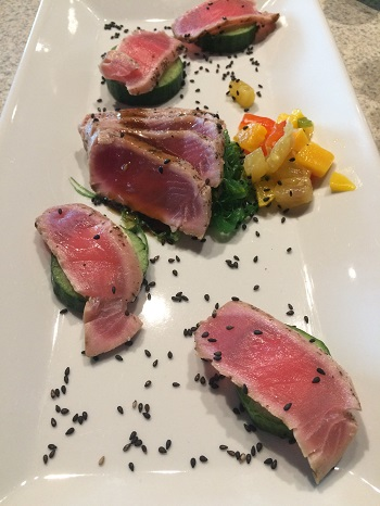 Ahi tuna at Wolfhead Distillery's restuaraunt is a great dinner option.
