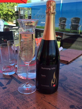 Burning Kiln Sparks sparkling wine is a lovely option from Norfolk County.