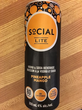 Social Lite Vodka Pineapple Mango Vodka Soda drink