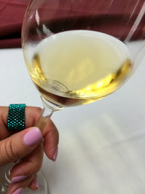 A lovely white wine at a tasting.