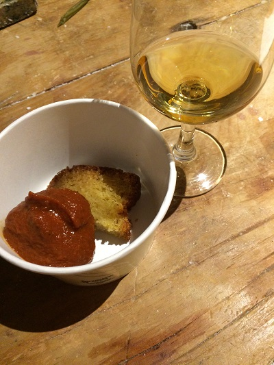 Ravine Vineyard Vidal Icewine with chicken meatball and cornbread pairing