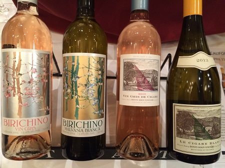White and rosé wines from Birichino and Bonny Doon at the California Wine Fair.