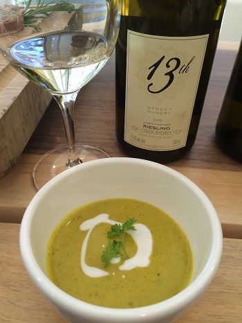 13th Street Winery 2014 Riesling paired with spicy soup.