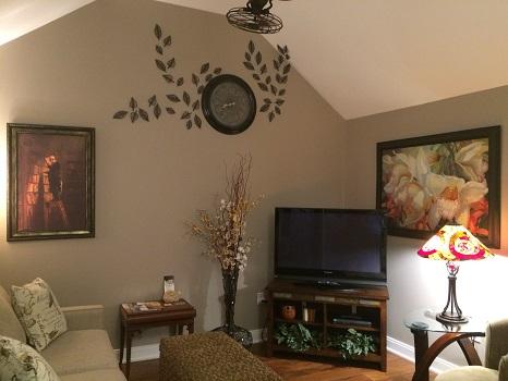 Sitting room at The Vineyard Suite in Essex, Ontario.