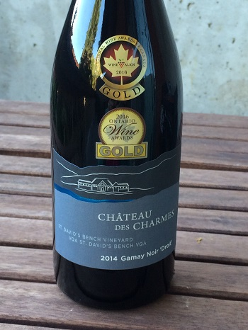 "Chateau des Charmes 2014 Gamay Noir ""Droit"" is a flavourful red wine for fall."