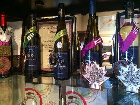 The award-winning wines of North 42 Degrees are worth a visit to Lake Erie North Shore.