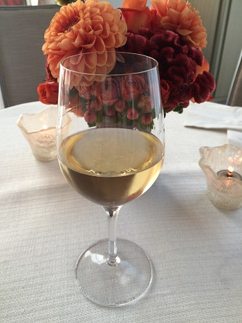 White wine and flowers