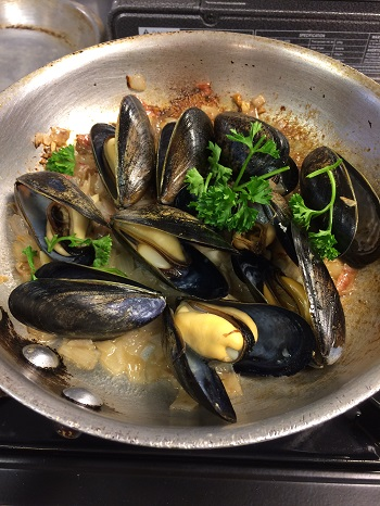 Mussels cooked with Whitehaven Sauvignon Blanc
